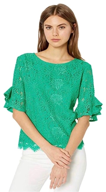 Item - Green Spring Fling 3/4 Bell Sleeve Lace Small Blouse Size 4 (S)