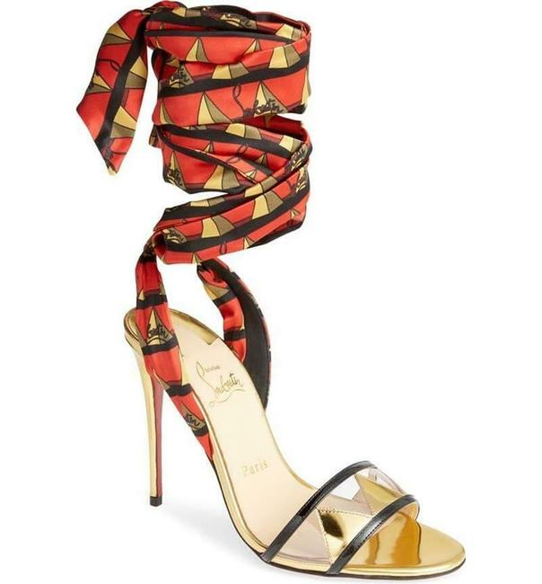 Item - Red/Gold/Black Baigneuse 100 Pvc Ankle Wrap Tie Silk Heels Pumps Sandals Size EU 37 (Approx. US 7) Regular (M, B)