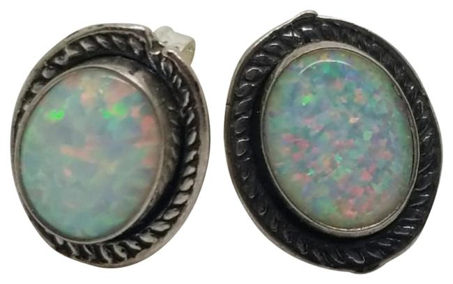 Item - Multi Color Sterling Silver 8mm X 6mm Oval Created White Opal Stud Earrings
