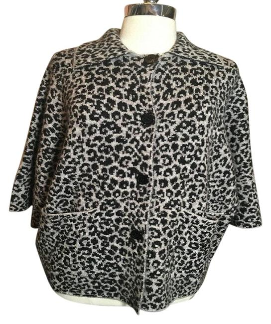 Item - Gray and Black & Knit Animal Print Jacket Cardigan Size 0 (XS)