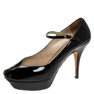 Saint Laurent Patent Leather Leather Classic Ankle Strap Black Pumps