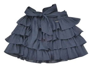 Abercrombie & Fitch Ruffle Elastic Chic Classic Sheer Preppy Flowy Mini Skirt Navy