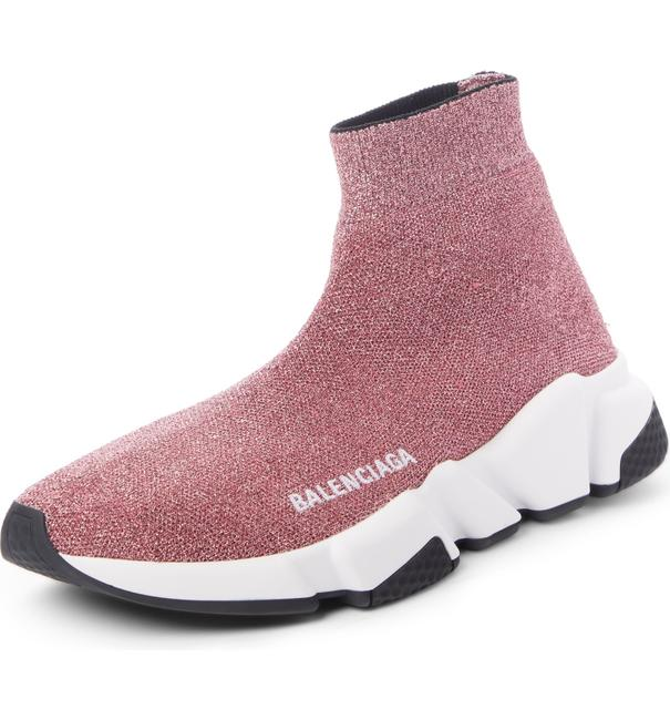 Item - Pink & White & Black Women's Speed Stretch-knit High-top Metallic Sock Trainer Sneakers Size US 7 Regular (M, B)