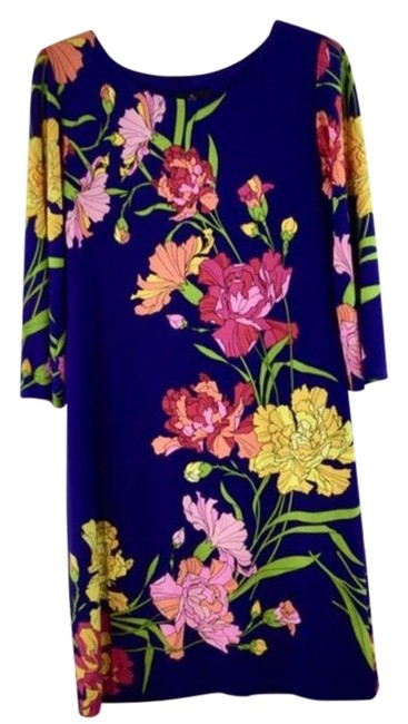 Item - Blue & Yellow Floral Print Sleeves Long Casual Maxi Dress Size 6 (S)