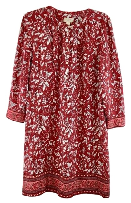 Item - Red & White Floral Print Sleeves Long Casual Maxi Dress Size 10 (M)