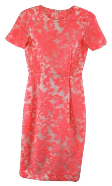 Item - White & Pink Floral Sheer Print Mid-length Short Casual Dress Size 2 (XS)