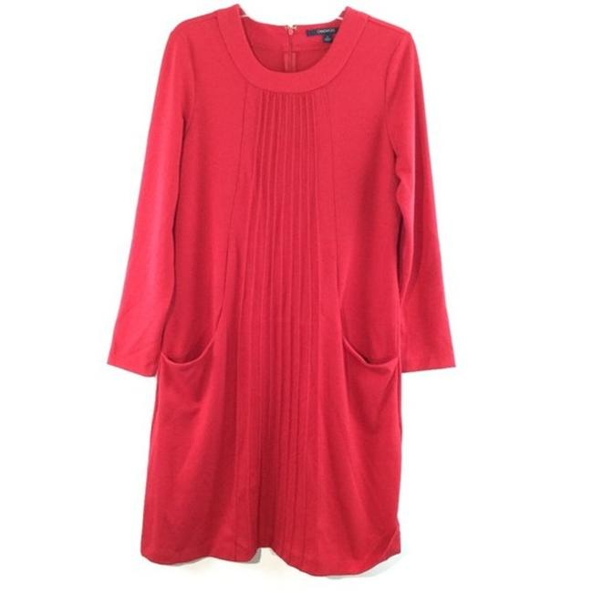Item - Red L Gathered Front Pocket Sleeves Long Casual Maxi Dress Size 14 (L)