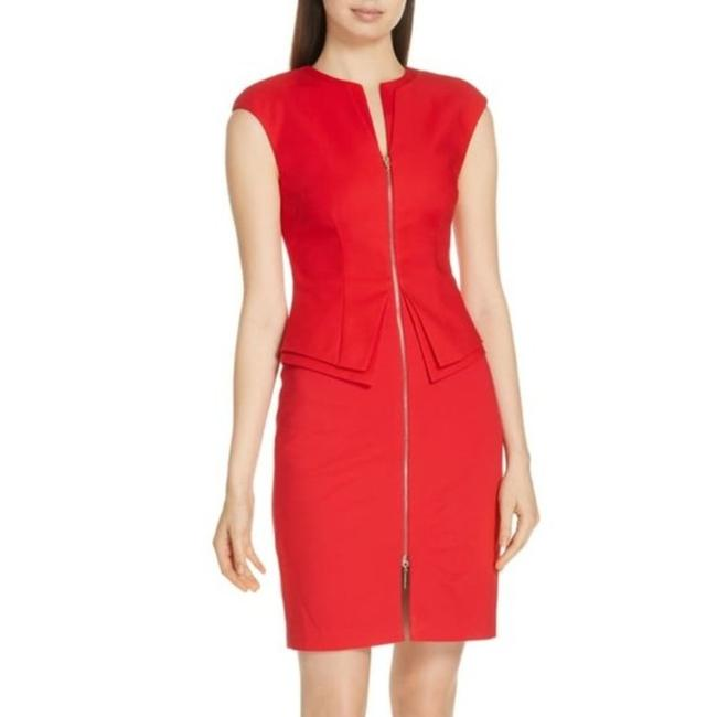 Item - Red Structured Zip Peplum Mid-length Work/Office Dress Size 8 (M)
