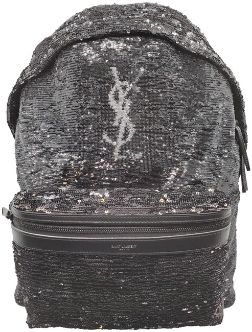 Item - City Ysl Monogram Full Size Rare Black and Silver Sequin Canvas Backpack