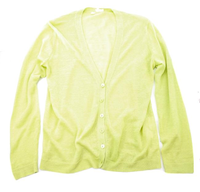 Item - Lime Green Organic Linen Knit Button Cardigan Size 6 (S)