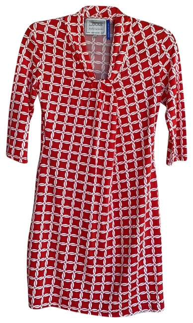 Item - Red/White Anchors Away Mid-length Work/Office Dress Size 0 (XS)
