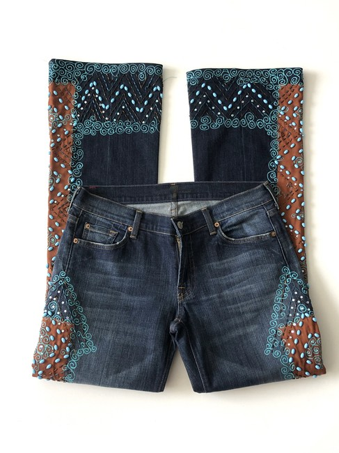 Item - Blue Dark Rinse By Jerome Dahan Beaded Painted Flare Leg Jeans Size 31 (6, M)