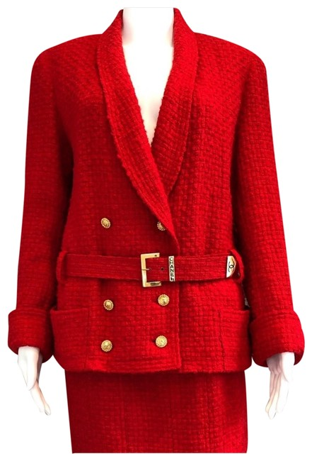 Item - Red 1980's Boucle Skirt Suit Size 4 (S)