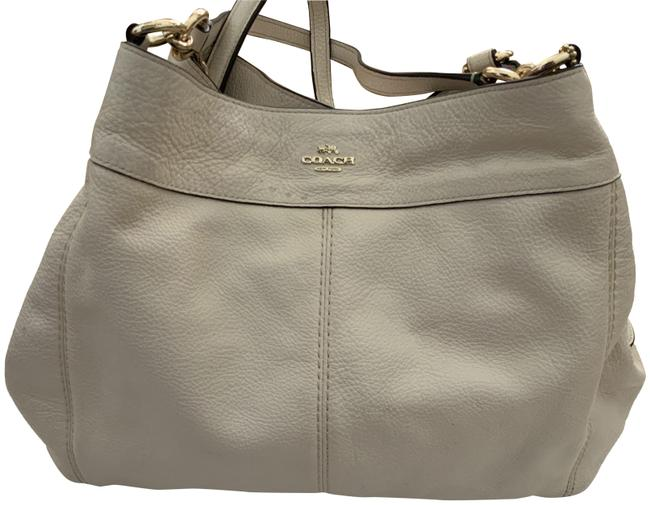 Coach Pebbled Off White Leather Hobo Bag Coach Pebbled Off White Leather Hobo Bag Image 1