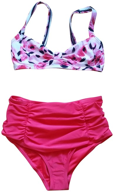 Item - Red Pink Black (Nwt) Roses Pin Up Bikini Set Size 4 (S)