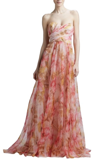 Item - Pink Multi Strapless Floral-print Gown Long Formal Dress Size 4 (S)
