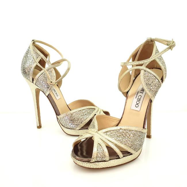Jimmy Choo Champagne Fayme Sandals Size US 7 Regular (M, B) Jimmy Choo Champagne Fayme Sandals Size US 7 Regular (M, B) Image 1