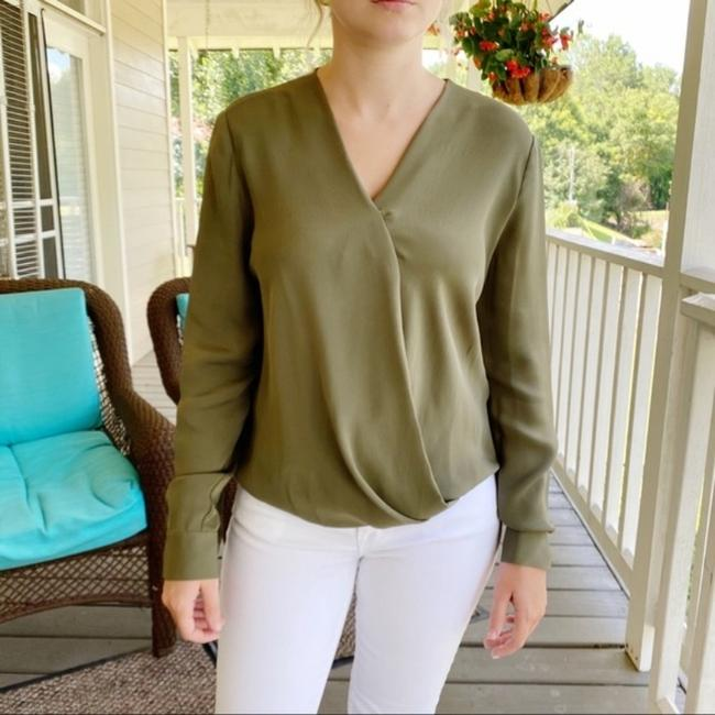 Item - Olive Dvf Marci Faux Wrap Silk Blouse Size 8 (M)