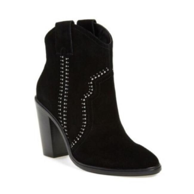 Item - Black Silver Monte Studded Suede Western Boots/Booties Size EU 40 (Approx. US 10) Regular (M, B)