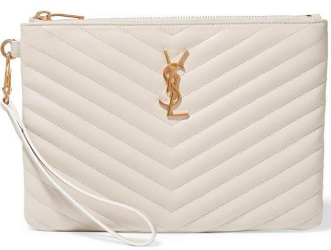 Item - Clutch - Monogram Quilted Off White Gold Leather Wristlet