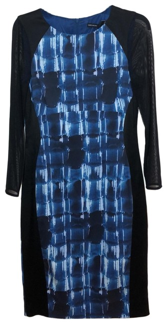 Item - Black with Blue Graphic Dv012 Mid-length Work/Office Dress Size 10 (M)