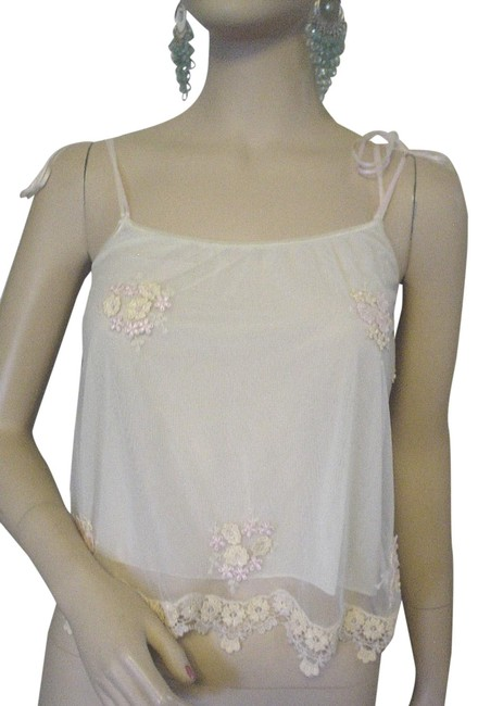 Item - Ivory Pink Yellow Applique Flowers Lined Mesh M Ec Tank Top/Cami Size 8 (M)