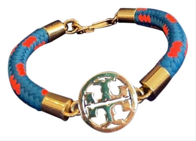 Item - Gold/ Blue/Red Pleated Braided Bracelet