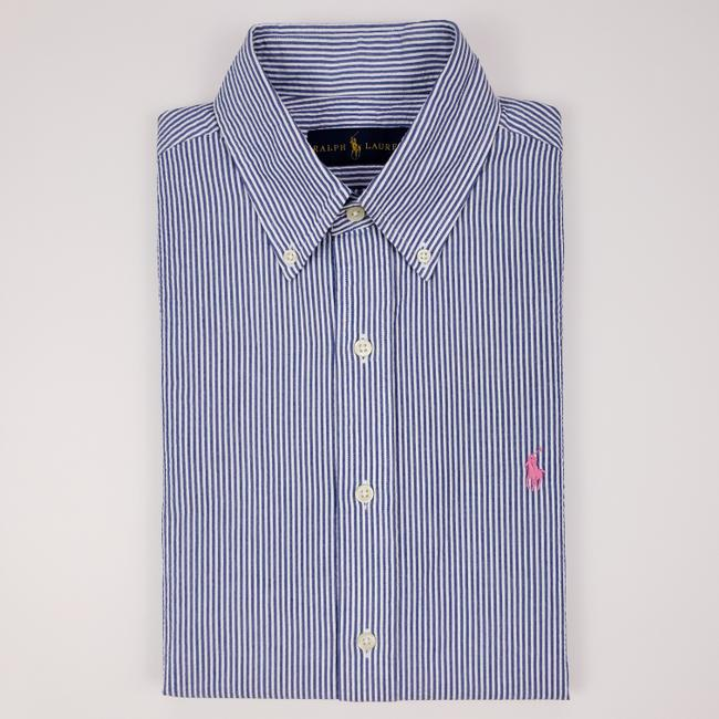 Item - Blue White Striped Seersucker Small Mens Button Fro Shirt