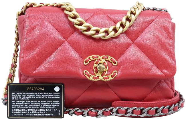 Item - Classic 19 Flap Small Red Lambskin Leather Satchel
