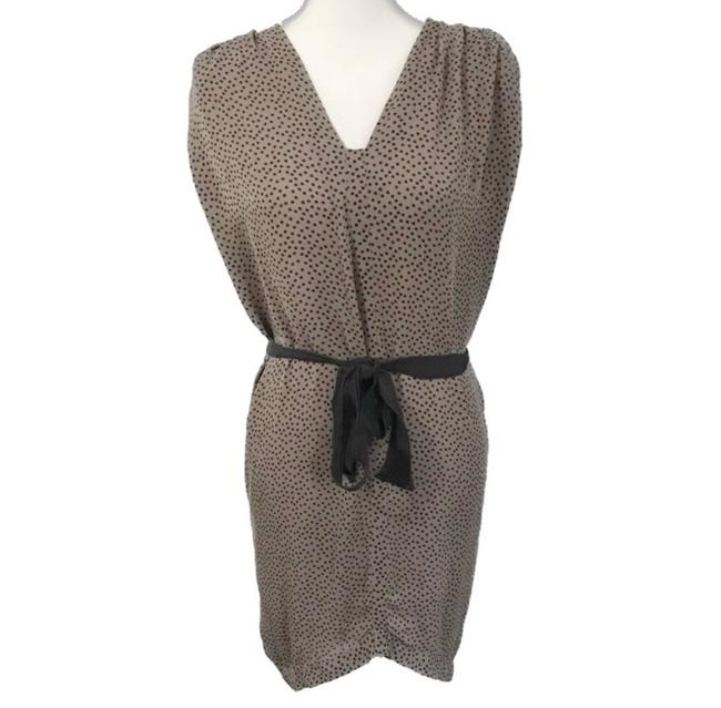 Item - Nude and Black Silk Polka Dot Tie Mid-length Formal Dress Size 2 (XS)