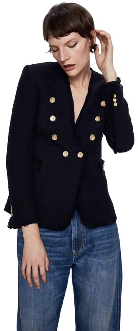 Item - Black Lapelless Jacket with Gold Buttons Blazer Size 8 (M)