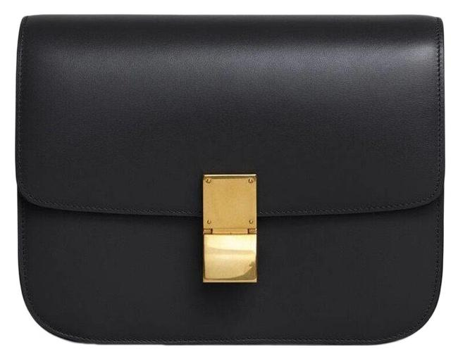 Item - Classic Box Black Gold Leather Cross Body Bag