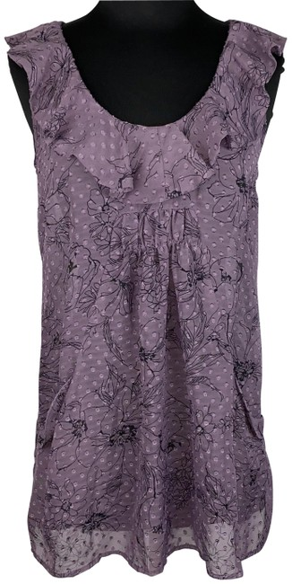 Item - Purple S Dotted Floral Sheer Ruffle Accents Pockets Tank Top/Cami Size 4 (S)