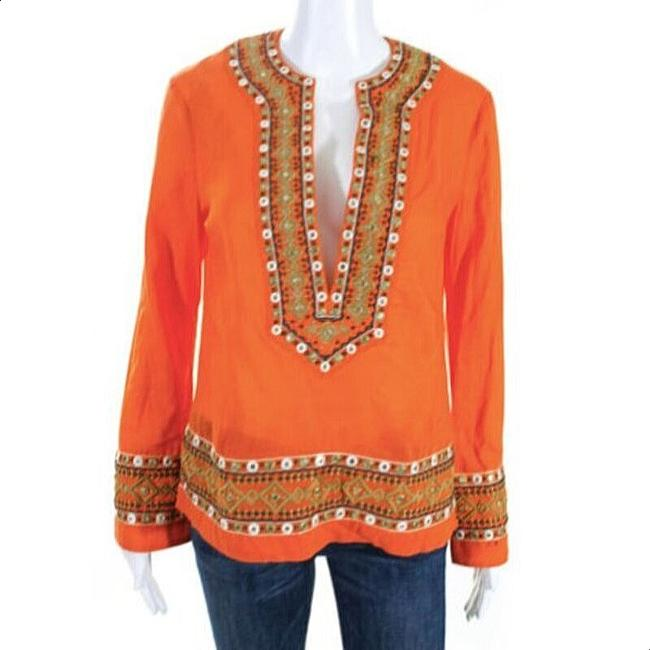 Item - Orange Gold Embroidered Mirror Blouse Tunic Size 2 (XS)