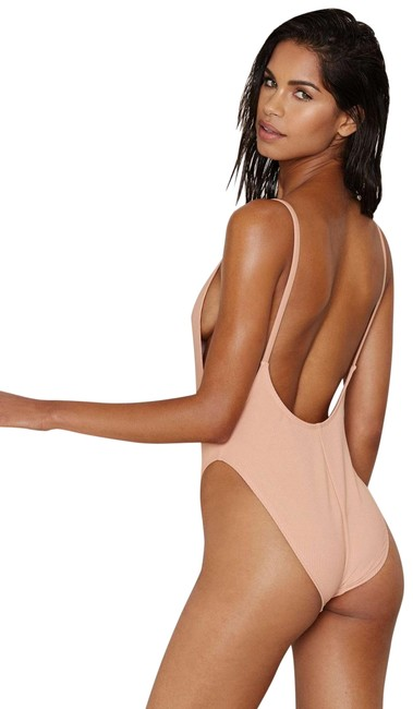 Item - Nude New Ribbed High Leg Backless Swimsuit One-piece Bathing Suit Size 8 (M)
