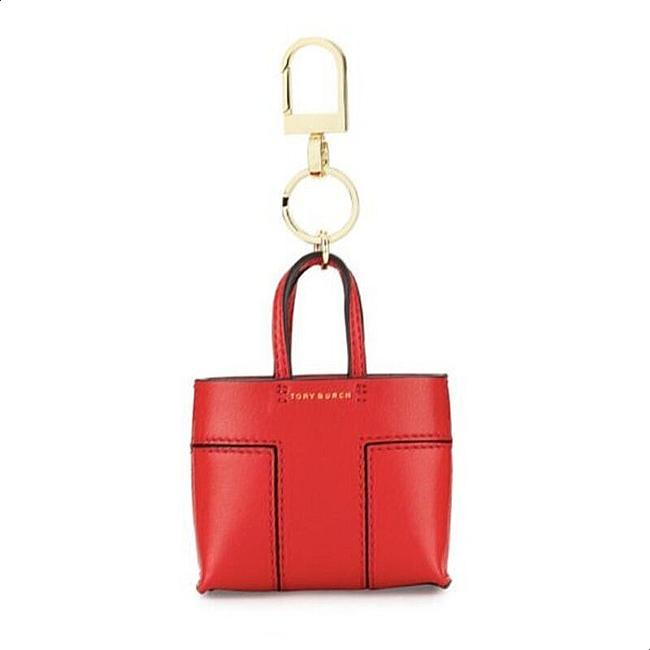 Item - Red Gold Tote Bag Key Ring Keychain Leather