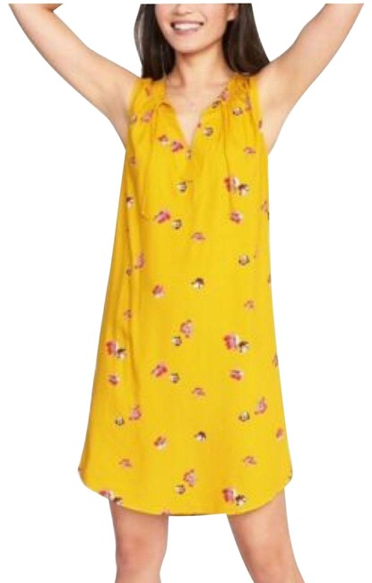 Item - Yellow Floral Shift Tunic Tie Neck Sleeveless Curved Hem Pleated Short Casual Dress Size 4 (S)