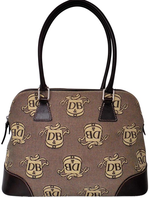 Item - Donegal Beige Leather Domed Brown Canvas Satchel