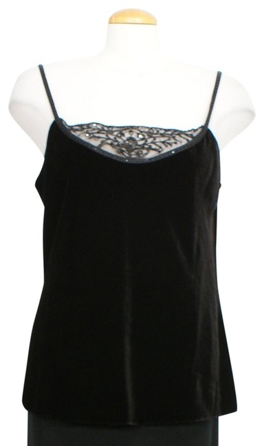 Item - Black Velvet Lace Bead Neck Camisole Tank Top/Cami Size 10 (M)