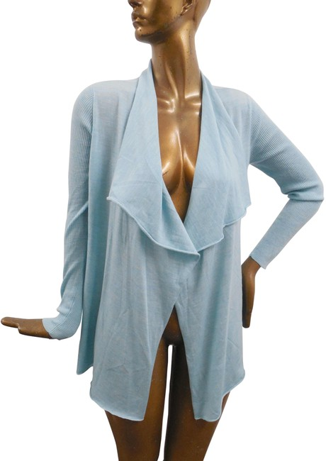 Item - Aqua Cascading Cardi Merino Wool Sweater Jacket Size 16 (XL, Plus 0x)