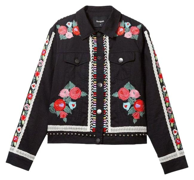 Desigual Embroidery Black and Multicolor 46. Jacket Size OS (one size) Desigual Embroidery Black and Multicolor 46. Jacket Size OS (one size) Image 1