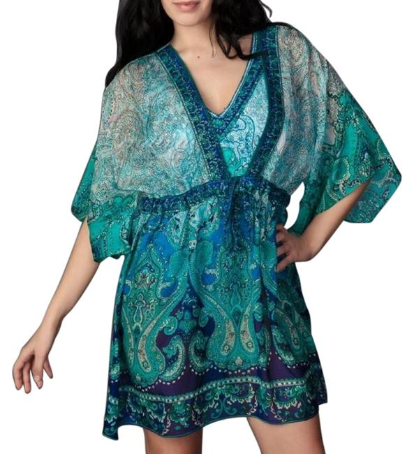 Item - Blue Turquoise Silk Paisley Print Cover-up/Sarong Size 6 (S)