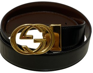 Gucci GUCCI BLACK BROWN LEATHER GG BUCKLE MEN'S / Women's BELT SIZE 95/38