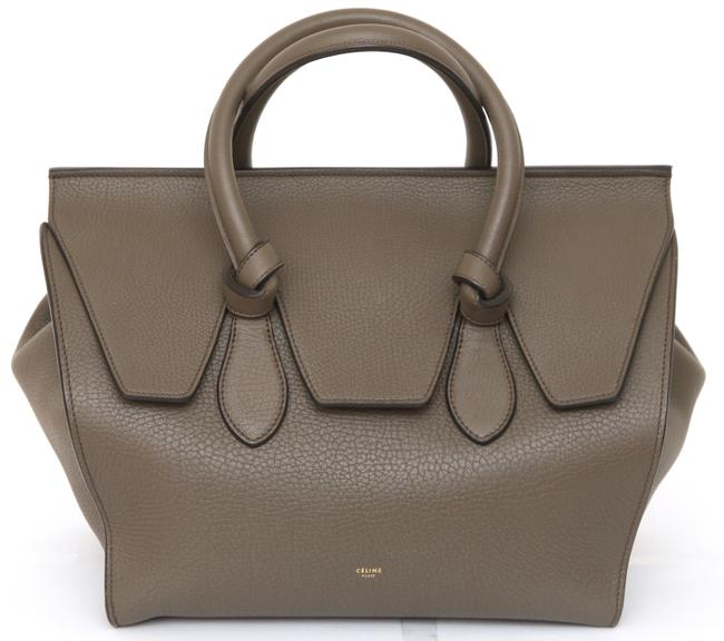 Céline Tie Medium Knot Gold-tone Hw Green Leather Tote Céline Tie Medium Knot Gold-tone Hw Green Leather Tote Image 1