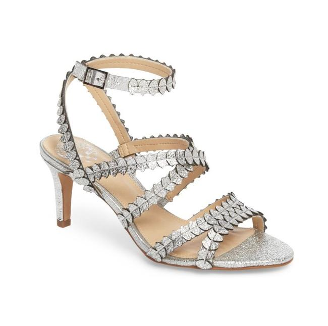 Item - Silver Yuria Strappy Leather Sandals Heels Formal Shoes Size US 7 Regular (M, B)