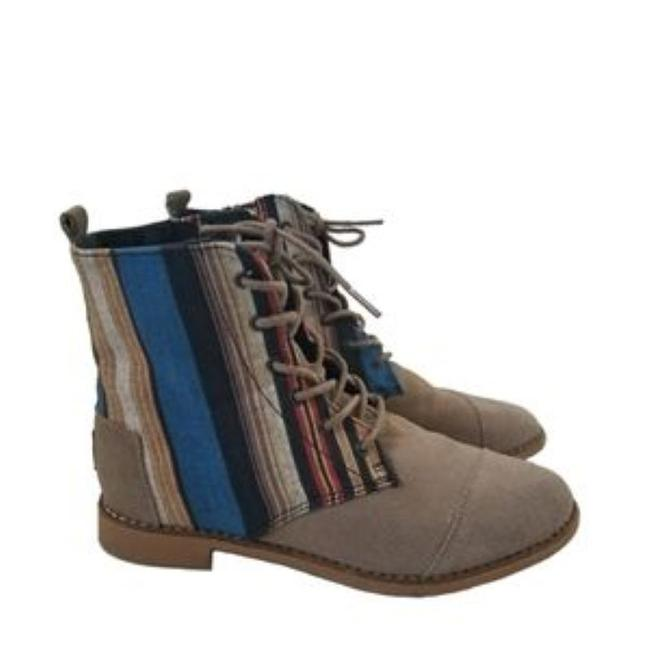 Item - Beige Lace Up Suede Multi Textile Boots/Booties Size US 7.5 Regular (M, B)