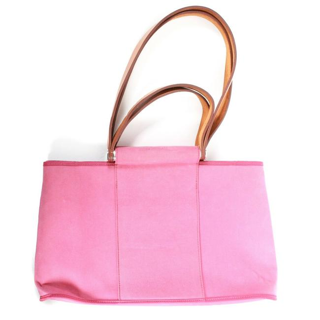Item - Bag Medium Leather Straps Pink Tan Silver Canvas Tote