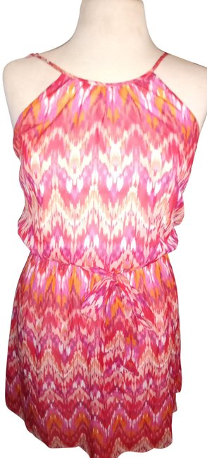 Item - Multi Red Color Chiffon Mid-length Short Casual Dress Size 0 (XS)