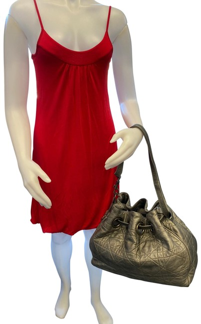 Item - Drawstring Cannage Quilted Grey Leather Hobo Bag