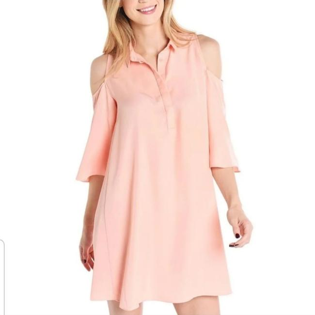 Item - Peach Cold Shoulder Mid-length Night Out Dress Size 4 (S)